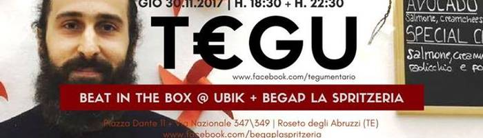 Beat in the Box #8: T€GU live at Ubik + Begap